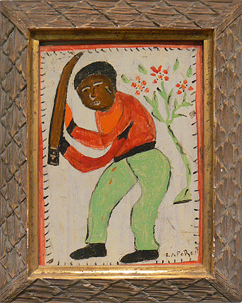 Wesner La Forest, early 1960s,  Man with Machete,  mixed media on wood, 10.5h x 8w in.