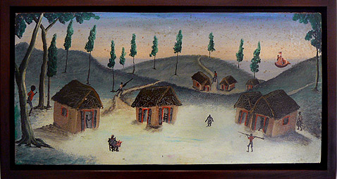 Bourmond Byron, c. 1960,  Landscape in Village,  mixed media on masonite, 8h x 16.5w in.