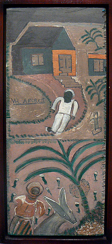 Wesner La Forest, early 1960s,  White Suit Man on Farm,  wood board, 21.75h x 9.5w in.