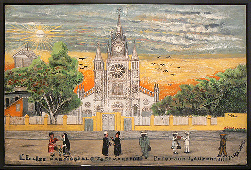 Peterson Laurent, c. 1950s,  L'eglise Parasple de St. Marc,  mixed media on paper on panel, 25h x 37.5w in.
