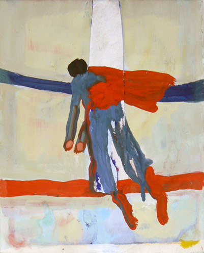 Katherine Bradford,  Red, White, Blue Superman,  2011-2012, gouache on paper, with collage, 14h x 11w in.