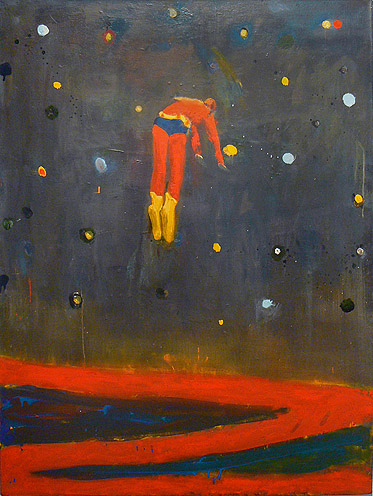 Katherine Bradford,  Superman Responds, Night,  2011, oil on canvas, 48h x 36w in.