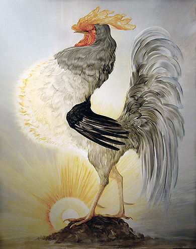 Shawn Spencer, 2010,  Solar Cock,  oil on panel, 67h x 52w in.
