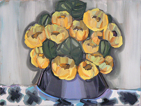Judith Linhares, 2010,  Chinese Flowers,  oil on linen, 18h x 24w in.
