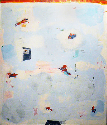 Katherine Bradford, 2011,  Friendly Skies,  oil on canvas, 84h x 72w in.