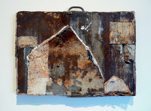 Matthew Blackwell, 2011,  Hobo,  tin and caulk, 14.5h x 19.5w x 3.25d in.