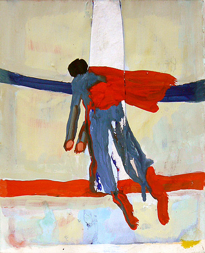 Katherine Bradford, 2011-12,  Red, White, Blue Superman,  gouache on paper, 14h x 11w in.