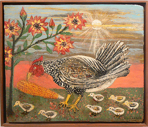 Peterson Laurent, c. 1950s,  Rooster and Chicks,  mixed media on wood panel, 18h x 21w in.