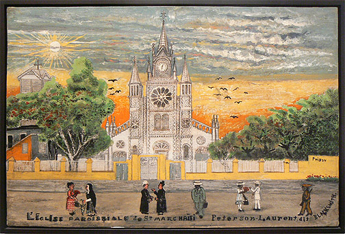 Peterson Laurent, c. 1950s,  L'eglise Parasple de St.Marc,  mixed media on panel, 25h x 37.5w in.