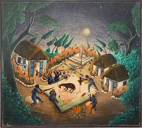Bourmond Byron, c. 1960,  Village Sacrifice,  mixed media on masonite, 25.5h x 28w in.
