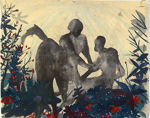 Sarah Gamble,  Centaur Night Fight , 2012, Mixed media, 14h x 17w in.