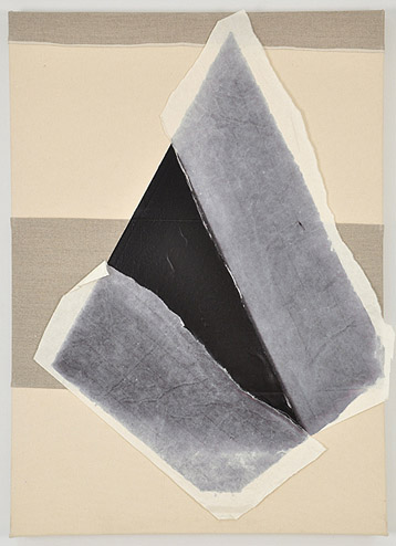 Andrew Guenther,  Paper Sail , 2012, Acrylic, paper on sewn canvas and linen, 23h x 32w in.