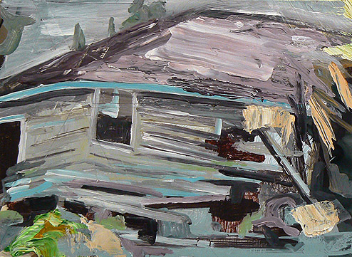 Kurt Lightner,  Sinking House Series , 2011, Acrylic, collage on panel, 12h x 16w in.