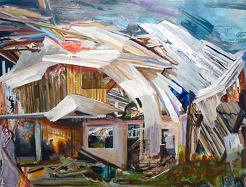 Kurt Lightner,  Sinking House Series , 2010, Acrylic, collage on panel, 55h x 72w in.