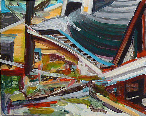Kurt Lightner,  Sinking House Series , 2010, Acrylic on panel, 16h x 20w in.
