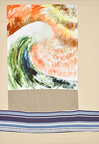 Andrew Guenther,  Wave , 2012, Oil on canvas, cotton, linen, canvas, 23h x 32w in.