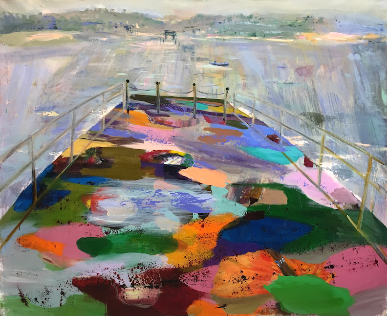 Judith Simonian,  Ferry Boat,  2017, acrylic on canvas, 58h x 72w in.