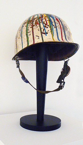 Anonymous, Kent State University, Ohio, ca. 1960s, Anti- War Protest Helmet , Poured enamel paint on military headgear, 17h x 9.5w x 10.5d in.