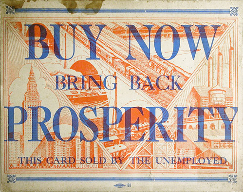Anonymous, American, c. 1930, Prosperity Card , Offset print on paperboard, 20h x 23w in. (framed)