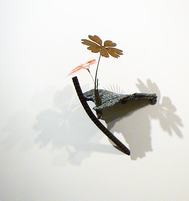 Markus Baenziger, 2012,  Day In Day Out , Bronze, resin, copper wire, found objects, 24.25h x 15w x 15.75d in.