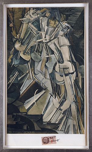 Marcel Duchamp, 1937, Nu Descendant un Escalier , Collotype colored pochoir, 13.75h x 7 7/8w in., Signed