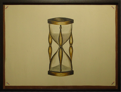 Anonymous, New York City, c. 1880-90, Fraternal Lodge Hour Glass , Oil enamel on artist board, 16h x 20w in.
