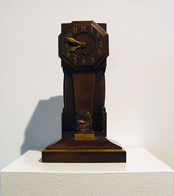 Anonymous, 1930s, German-Deco Clock, Bronze (Working, key and pendulum available), 12.25h x 7w x 5d in.