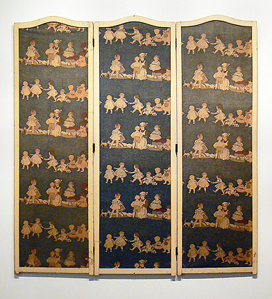 Anonymous, Philadelphia, PA, ca. early 20th century, Nanny Screen , Three part lacquered wood folding screen framing block printed textiles with a nursery theme, 61.5h x 49w x 16d in.