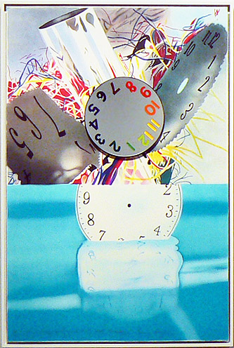 James Rosenquist, 2011,  The Memory Continues but the Clock Disappears , Framed lithograph with rotating mirror, 39.25h x 26.5w x 2d in., #26 from an edition of 45