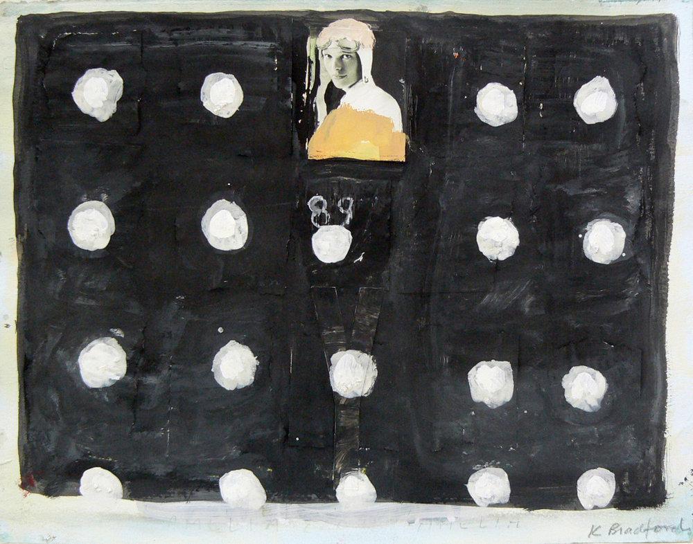 Katherine Bradford, 2011-12, Amelia Earhart 89, Gouache on paper, 11h x 15w in.