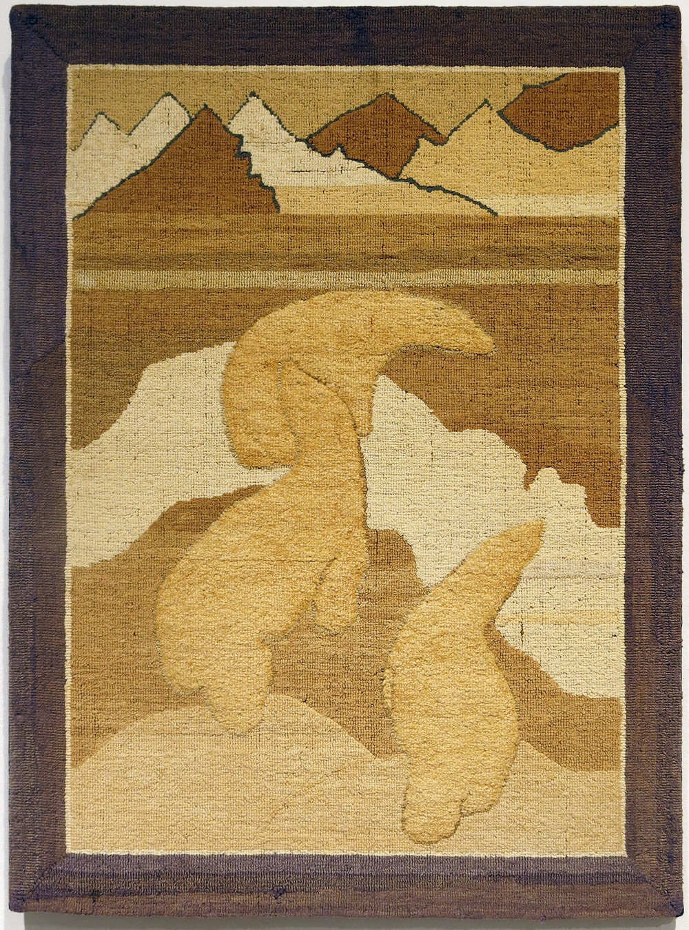 Anonymous, The Grenfell Mission,  3 Polar Bears on Iceberg,  c. 1936, silk, cotton, burlap, 20 1/2h x 27 1/2w in.