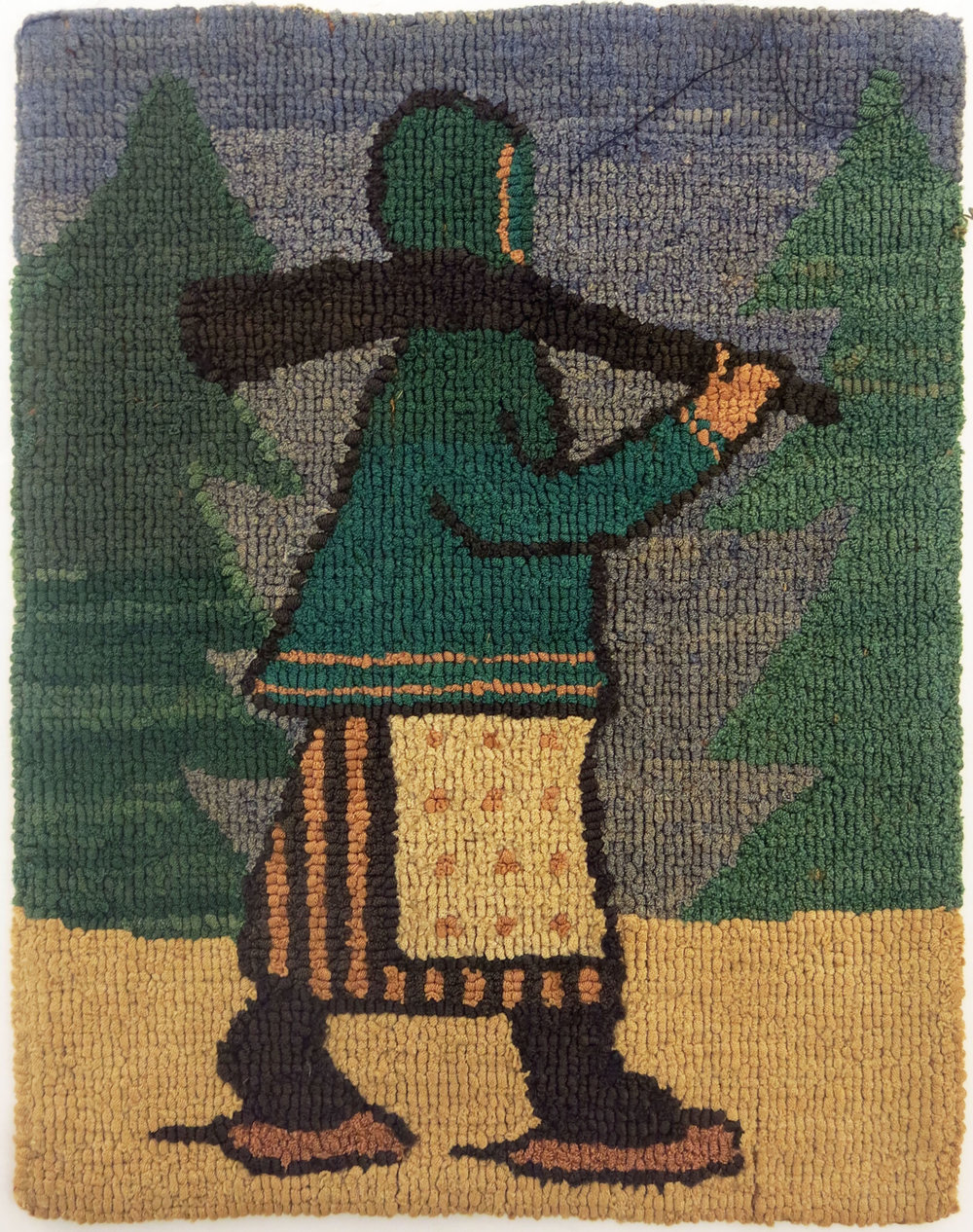 Anonymous, The Grenfell Mission,  Woman Hunter,  c. 1938, silk, rayon; dyed, 9 1/2h x 7 1/2w in.