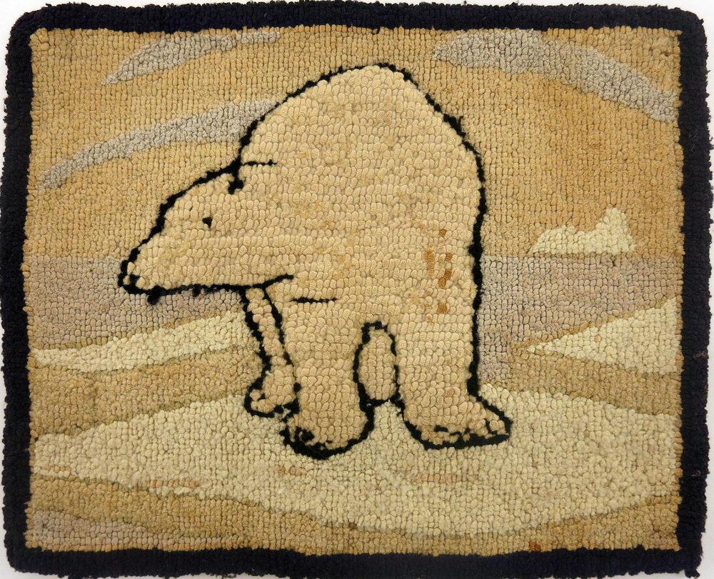 Anonymous, The Grenfell Mission,  Polar Bear on Ice,  c. 1936, cotton and silk; dyed, 8 1/2h x 10 1/2w in.