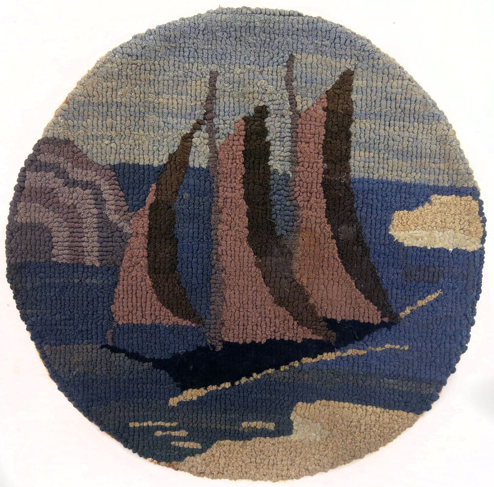 Anonymous, The Grenfell Mission,  Three Mast Schooner with Icebergs,  c. 1935-45, silk and rayon; dyed, 8 1/2 in diam.