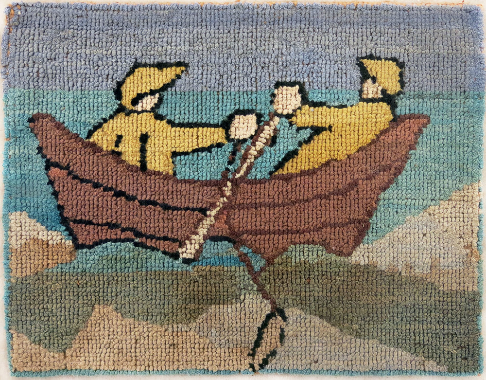 Anonymous, The Grenfell Mission,  2 Rowers,  c. 1938, silk and rayon; dyed, 7 1/2h x 9 1/2w in.