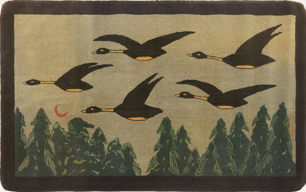 Anonymous, The Grenfell Mission,  5 Geese Flying Over Trees,  c. 1930, silk and rayonl dyed, 26 1/2h x 43w in.