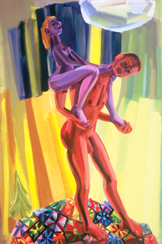 Judith Linhares,  Carry On,  2009, oil on linen, 80h x 54w in.