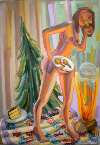 Judith Linhares,  Feast,  2010, oil on linen, 80h x 54w in.