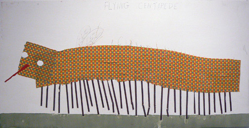 Neil Farber,  Flying Centipede,  2010-2011, mixed media on panel, 24h x 48w in.