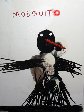 Neil Farber,  Mosquito,  2010-2011, mixed media on panel, 40h x 30w in.