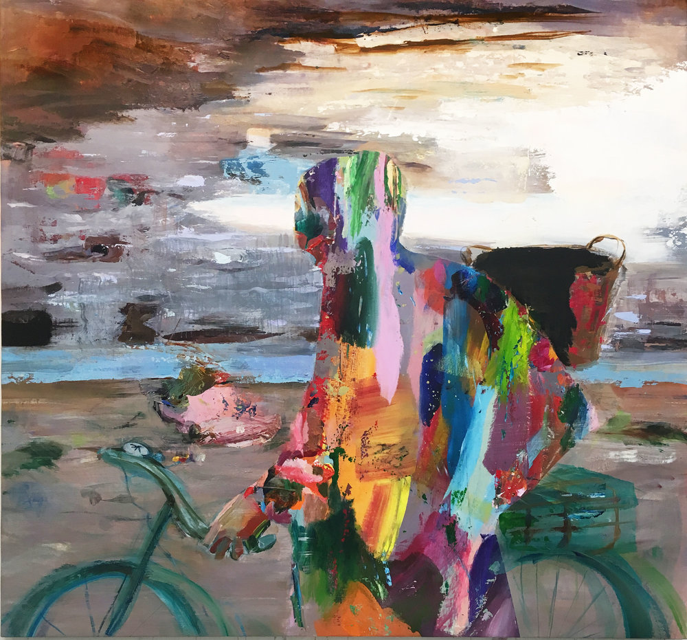 Judith Simonian,  Taking the Painting for a Ride,  2017, acrylic on canvas, 56h x 60w in.