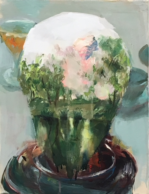 Judith Simonian,  Snow Globe,  2017, acrylic on canvas, 14h x 18w in.