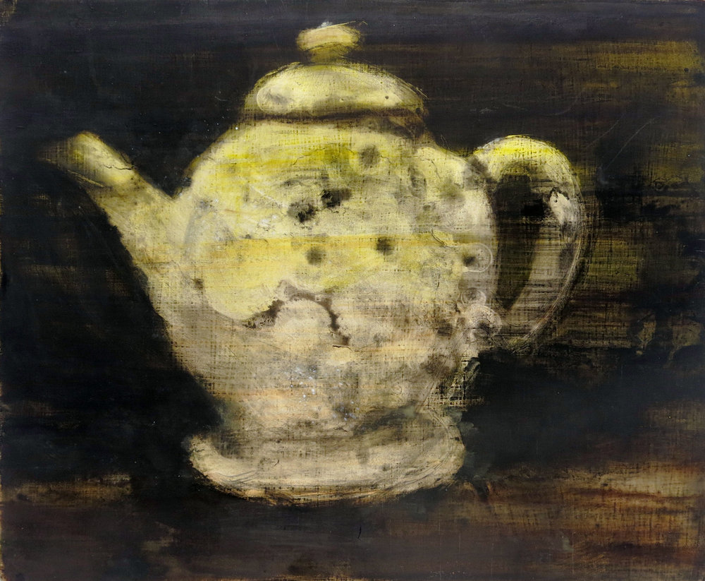 Herbert Reichert,  Untitled (teapot 2),  2016, oil on wood, 10.5h x 13w in.
