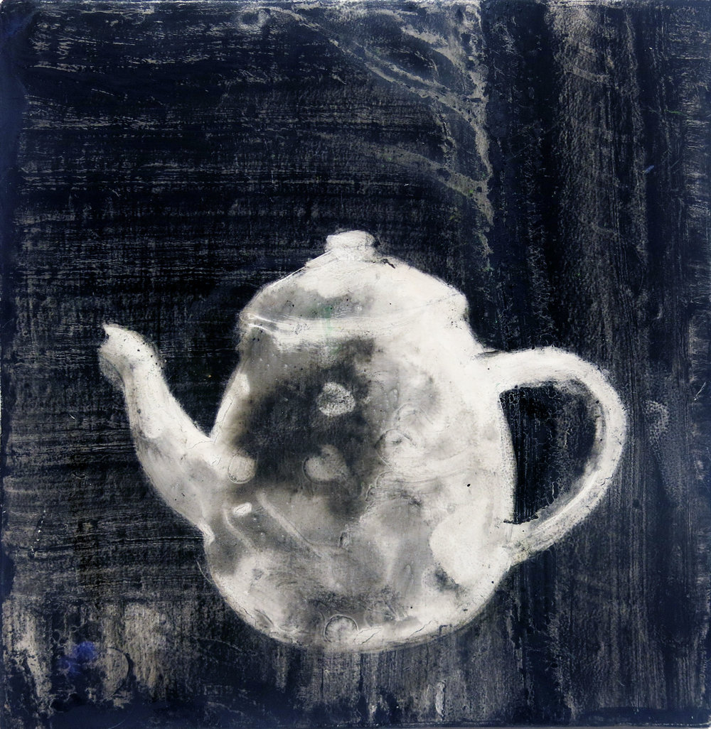 Herbert Reichert,  Untitled (teapot 3) , 2016, oil on wood, 12h x 12.5w in.
