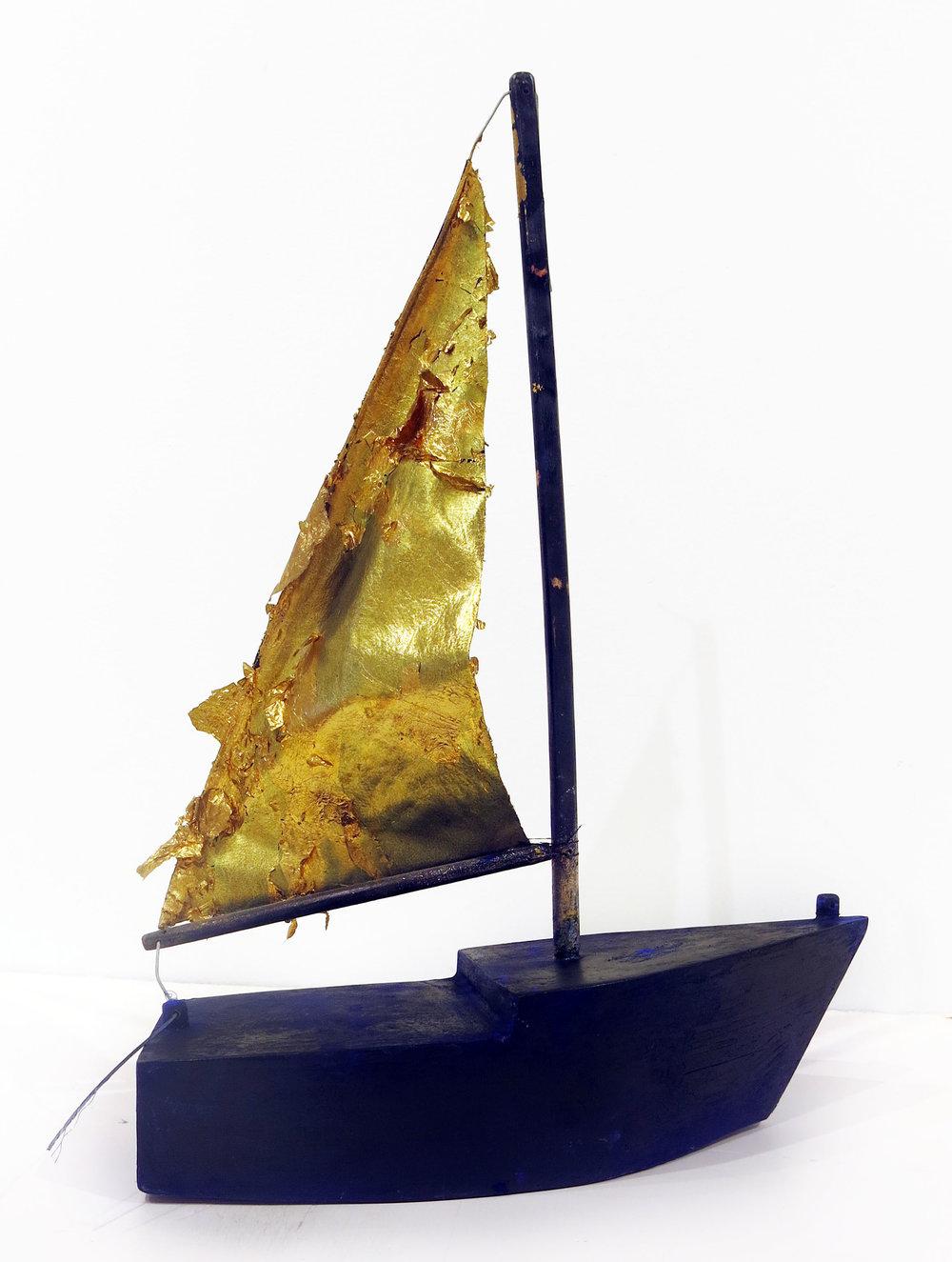 Herbert Reichert,  Untitled (sailboat),  2015, oil, wood glue, foamcore, pastel, wood, leather, gold leaf, 20.5h x 14w x 6.5d in.