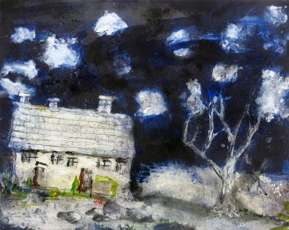 Herbert Reichert,  Untitled (snow house),  2014, oil, pigment, pastel, 19h x 24w in,