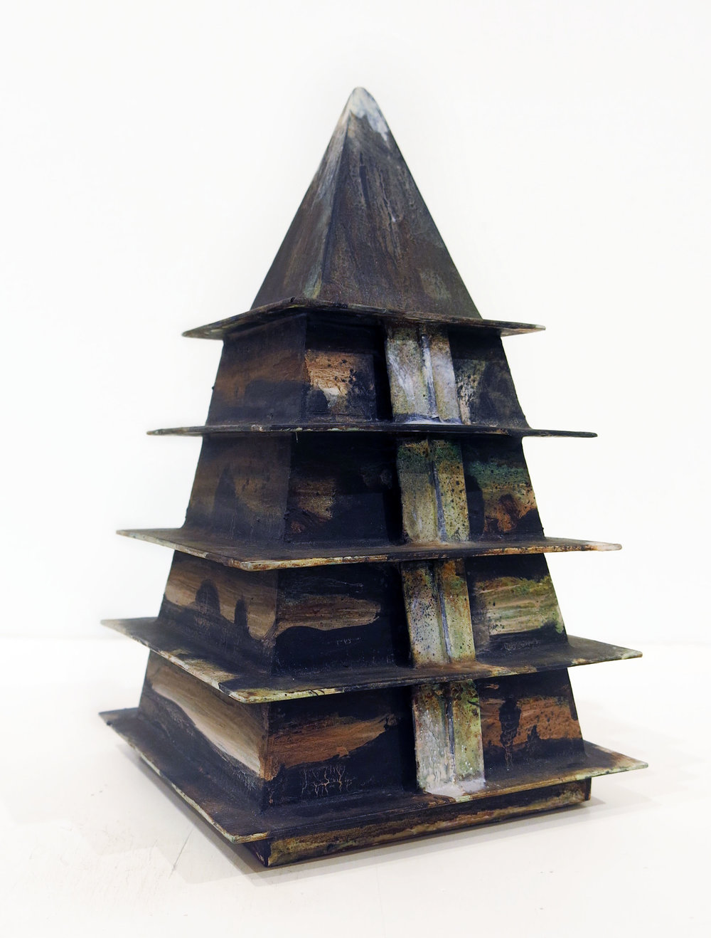 Hertbert Reichert,  Untitled (temple/ stupa)  2016, oil, wood glue, foamcore, 10.5h x 6.25w x 6.25d in.