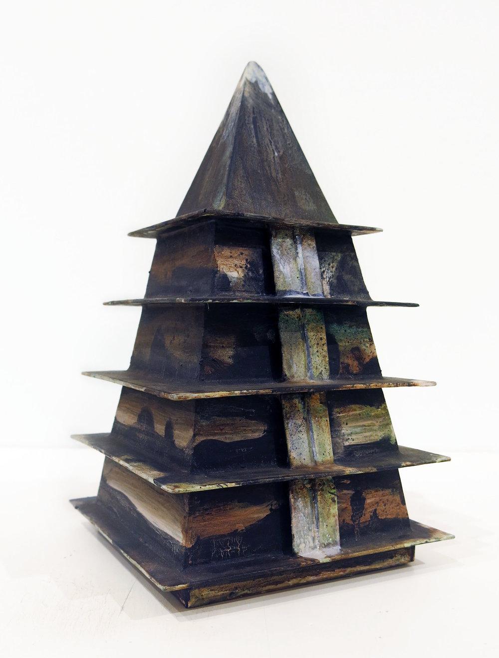 Hertbert Reichert,  Untitled (temple/ stupa)  2016, oil, wood glue, foamcore, 10.5h x 6.25w x 6.25d in.