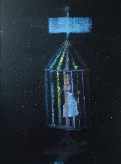 Elisa Jensen,  Søstre Drille (Sister Tease),  2018, oil on linen, 48h x 36w in.