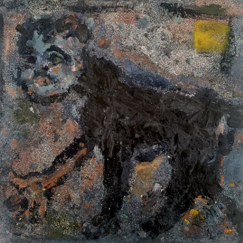 Farrell Brickhouse,  Feral Blue,  2018, oil, glitter on canvas, 16h x 18w in.